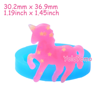 D282YL 36.9mm Unicorn Silicone Mold - Animal Mold Fondant Cupcake Topper Gum Paste, Candles Jewelry, Resin Fimo Clay, Candy Mold(China)
