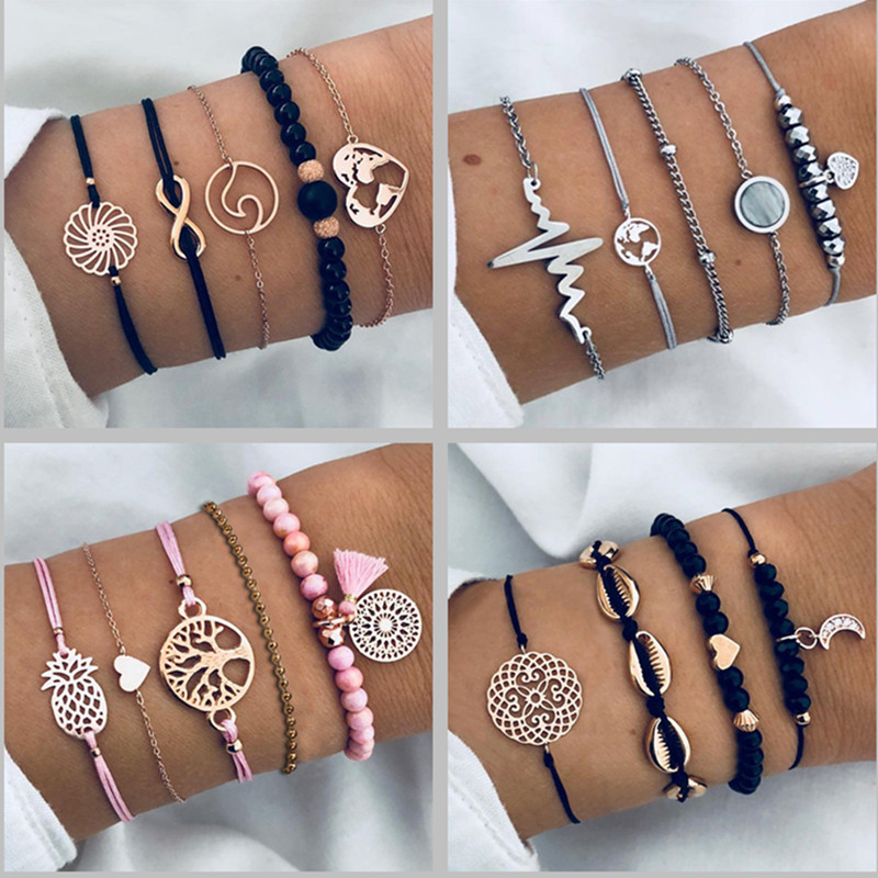 DIEZI Different Style Bohemian Tree Beaded Bracelets Sets For Women Vintage Fashion Chain Strand Bracelets Jewelry Gifts