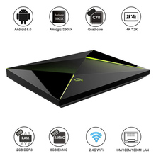 M9S Z8 Smart Android TV Box Android 6.0 S905X Quad-core UHD 4K 2G / 8G Mini PC 1000M LAN WiFi H.265 Media Player(China)