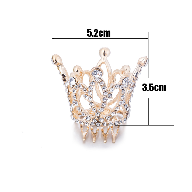Wedding Hair Accessories Gold Color Mini Round Crystal Rhinestone Tiaras and Crowns Pageant Prom Princess Comb Tiara Crown (3)