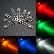 10pcs 3mm/5mm Water Clear Round Top LED Emitting Diodes Assortment Lamp 5 Color White Yellow Red Blue Green DIY Lighting