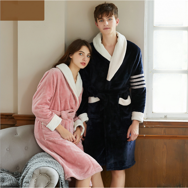 2019 Autumn Winter Women Plus size Robe Ladies Warm Flannel bathrobe Ladies Hoodie collar robes Female Long Sleeve dressing gown