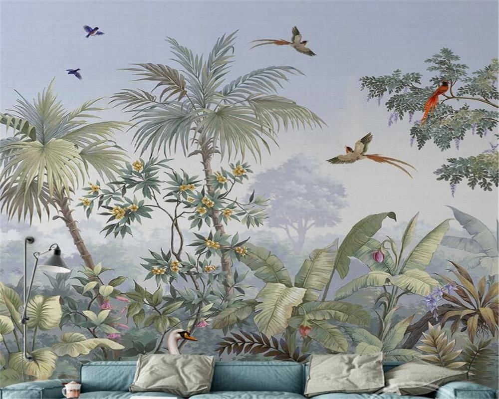 Custom Wallpaper Mural 3D Living Room Bedroom TV Tropical Rainforest Plant Landscape Background wallpaper for walls 3 d   mural<br><br>Aliexpress