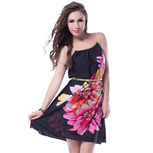 J7971 Promotions Multi Flowers Ladies beach dress With belt 2016 new women dress fashion newest design strap summer dress(China)