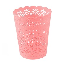 Small Sweet Lace Plastic Flower Trash Can Bin Storage Mini Desktop Trash Can Office Desktop Organizer Paper Basket 4 Color