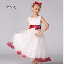 Flowers Girl Dress Easter junior Wedding Princess Dresses Layers Voile White Embroider Summer Fresh Cool Kids Dress High Quality