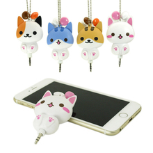 Cute Cat Dog Cartoon Earphone Headphones Retractable Wired Earphones With Cable Manager 3.5mm Plug For MP3 Xiaomi Iphone6s(China)