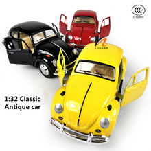Free shipping 1:32 Scale Metal Diecast Figure Model Car toys, Mini alloy Antique vintage Beatles classic cars