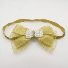 Delicate Gold Bow Pearls Crochet Stretch Headband with Soft Tulle Metallic Glitter Hair Bands Little Kid Girl Band 10pcs/lot