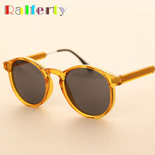 Ralferty Brand Designer Round Sunglasses Women Men Vintage Black Circle Eyewear Plastic Anti UVA Sun Glasses Shades Points Oculo