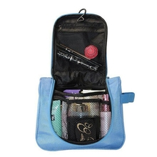 Hot selling Hanging CosmeticToiletry Bag Large Capacity Storage Bag Travel Pouch Blue(China)