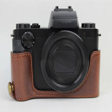 Battery Openning PU Leather Camera Bag Bottom Case for Canon PowerShot G5 X G5X Half Body Cover Color Black Brown