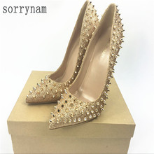 NEW women high heels shoes rivet wedding shoes gold shallow mouth pointed fine heels lady high heel shoes 8cm 10cm 12cm +box