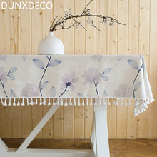 DUNXDECO Tablecloth Wedding Decoration Mesa Cover Fabric Artistic Flora Fresh Light Blue Lilac Country Style Blend