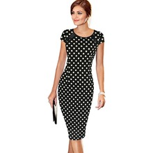 Women's Summer Polka Black White Dot Printed Synthetic Leather Wear to Work Office Business Casual Pencil Dress vestidos 135(China)