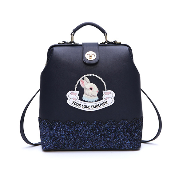 DuoLaiMi 2017 New Multi-Functional Fashion PU Leather Shoulder Bag Embroidery Rabbit Backpack Diamonds Crossbody School Bags <br>