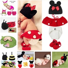 Hot Sale Cartoon Photography Props Newborn Baby Knitted Costume Outfit Mickey Owl Bee Ladybug Baby Shower Gift SG058(China)