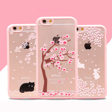 Cheap Case For iPhone6 4.7 Art Print Painted Lovely Girl Pink Flower Tree Rabbit TPU + PC Back Cover Case For iPhone 6 6s Coque