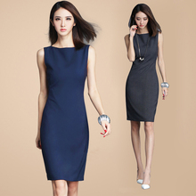 2017 Spring and Summer Medium-long Nice Look Office Lady slim hip slim solid color sleeveless one-piece dress for women Vestidos