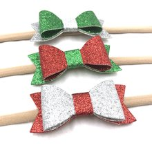 6pcs/lot Red White Green Christmas Leather Bow with nylon headband 3'' big Glitter Leather Hair Bow Hair accessories Headwear