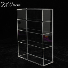 KiWarm High Gloss Acrylic Display Box Show Case Sliding Door for Mini Perfume Bottle Jewelry Crafts Display For Home Shop Decor
