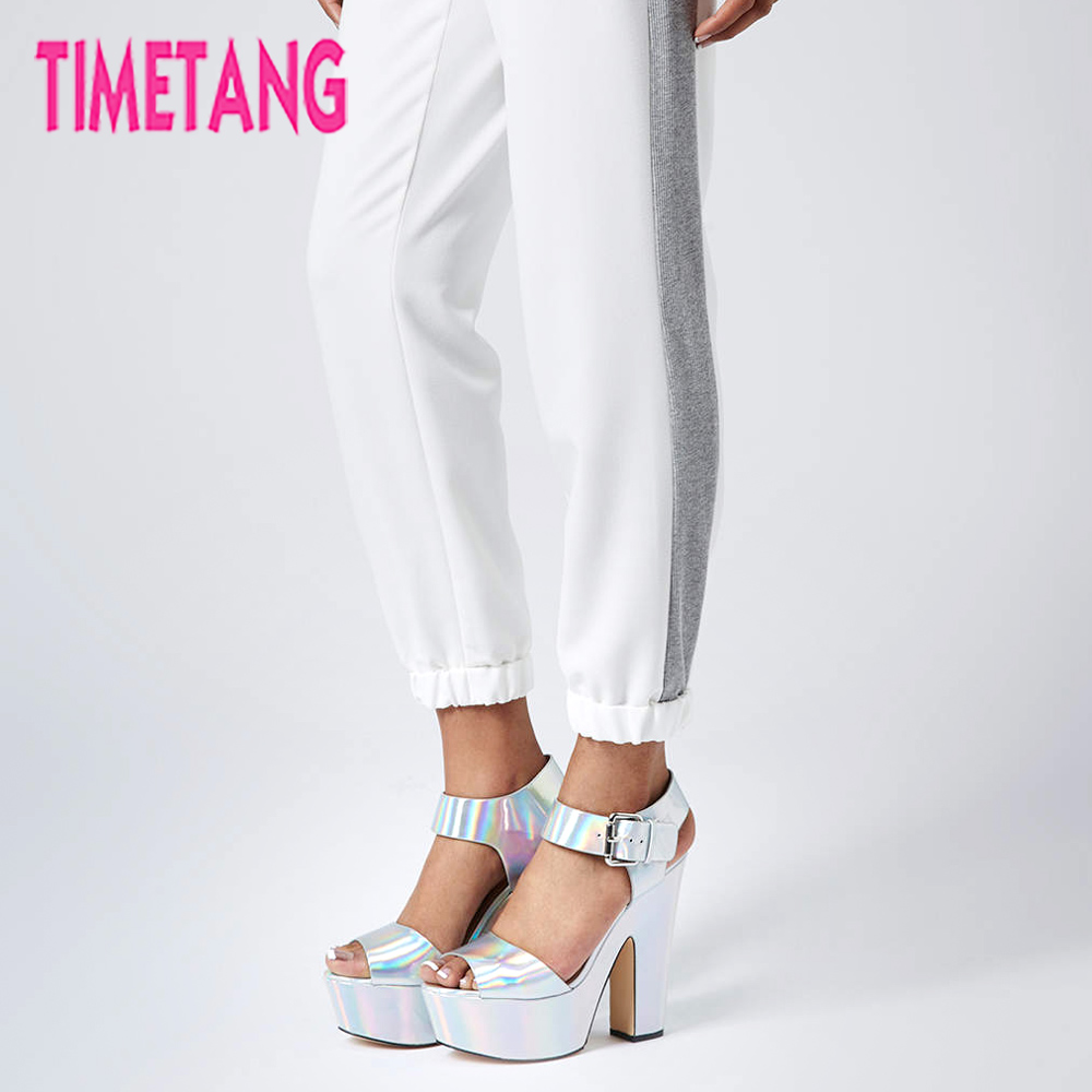 Free Shipping TIMETANG Stunning Laser Punk Night Club Open Toe Thick Heel Platform High Heel Women Sandals Party Shoes 35 - 41<br>