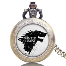 Game of Thrones Wolf Winter is Coming Pocket Watch Necklace Pendant with Chain Men Women Gift(China)