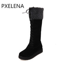 PXELENA 2017 New Winter Warm Hot Sale Faux Suede Boots Womens Flat Lace Up Fur Lined Knee High Snow Boots Ladies Shoes Plus Size