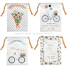 4pcs Flora Bicycle Printed Custom Cartoon Drawstring Bag Foldable Cloth Shoes Towel Polyester Travel Storage Bag
