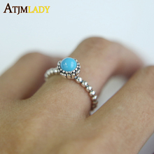 2017 New Arrival Hot Sale Geometric Party Anillos 100% 925 Sterling March Single Turquisesa Vintage Women Ladies Antique Ring(China)