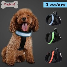 New Arrival Pet Dog LED Breathable Mesh Light Collar Jogging Harness Vest Solid All Season Green Orange Blue S/M/L/XL 4 Size