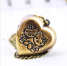 cartoon vintage Bronze hello Kitty Steampunk Children's necklace pocket watches pendant  free shipping