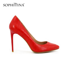 SOPHITINA 10cm extreme high heels SEXY Thin heel Pointed Toe pumps Red Cow Leather Wine Red patent leather party shoes woman D29