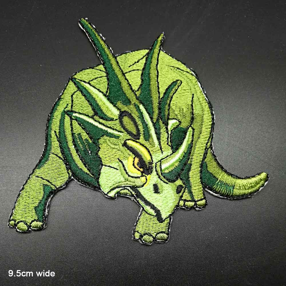 Clothing Patch Dinosaur Iron On Badge Sew On T Shirt Embroidered Triceratops