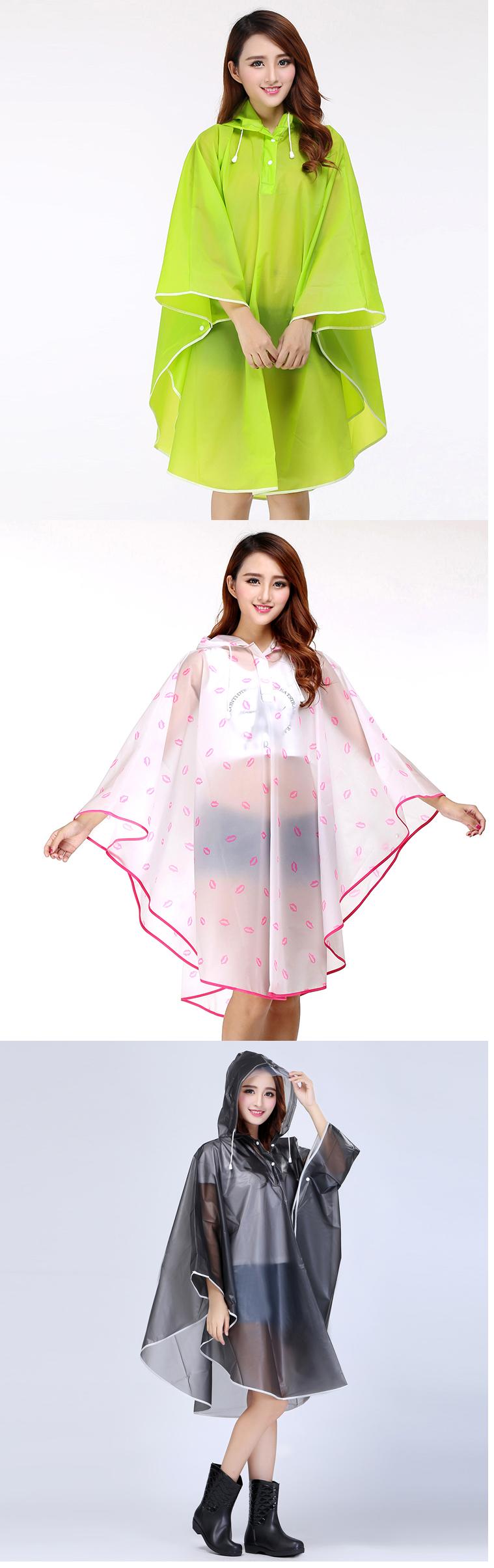 Women Transparent Portable Long Raincoats 25