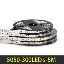 RGB LED Strip Light 5M 60LEDs/m LED Ribbon SMD5050 DC12V IP65 Waterproof Single Color Flexible LED Light For Home Decoration