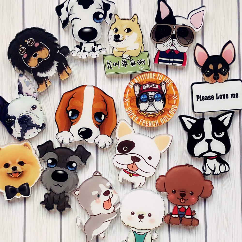Hot-Kawaii-Harajuku-Style-dog-Badge-Acrylic-Brooch-For-Women-Man-Clothes-Badge-Decorative-Rozet-Collar