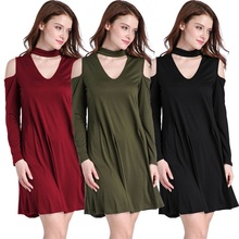 S-XL Casual Mini Shirt Dress Autumn Loose Women Dress Off Shoulder Long Sleeve A-Line Halter Dress Black Army Green Wine Red