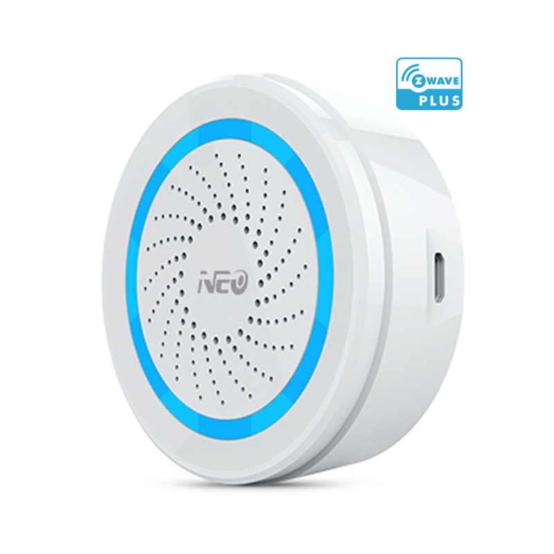 EU Version Zwave Alarm Siren Battery-Powered Also Can Be Charged with USB Siren Alarm Sensor For Z Wave Home Automation<br>