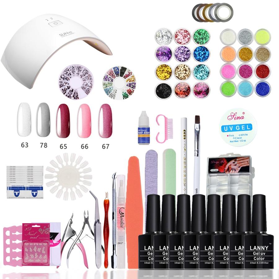 LANNY Nail Art Gel Polish soak off  Gel base&amp;top coat Set 24W UV Led lamp  5 Color 10ml  Gel Manicure Tool Practice Sets &amp; Kits<br>