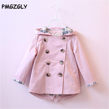 Girl Trench Spring Autumn Baby Girls Jacket Girls Coat Kids Girls Trench Coat Children Outerwear Clothes 3-8 Year Clothing
