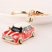 3D Enamel Car Keychain Crystal Rhinestone Bag Key Charms Phone Key Chain Women Hangbag Accessory Key Ring Mini Cartoon Gifts