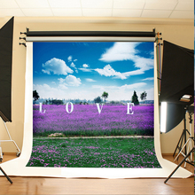 Wedding Photography Backdrops The Blue Sky and White Clouds Background for Photo Purple Meadow Backdrops for Photo Studio