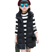 2017 New Children's Garment Long Child Winter Clothes Keep Warm hooded Vest kids vests for girls waistcoats Outerwear & Coats