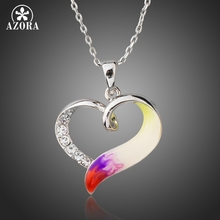 AZORA Unique Handmade Oil Painting Stellux Austrian Crystal Forever Love Heart Pendant Necklaces for Valentine's Day Gift TN0194(China)