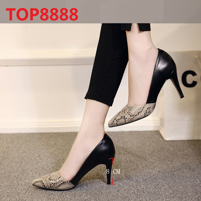 European 2017 Autumn Season Thin Heels Mid-Heel Point Toe Dress Shoes Color-Matched Sexy Snakeskin Leather PU Shoes Women C084-1<br><br>Aliexpress