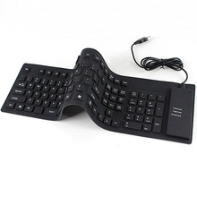 109 Keys USB Silicone Rubber Waterproof Flexible Foldable Keyboard For PC Black #K400Y# DropShip