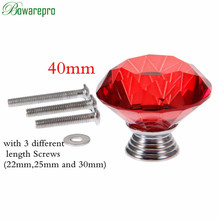 bowarepro Diamond Crystal Glass knob hardware Pull handle dresser cabinet handles furniture parts kitchen handles 1+3Pcs Screws