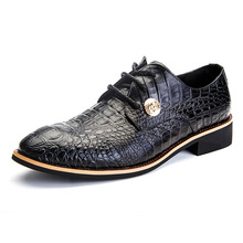 Fashion Men Dress Shoes Genuine Leather Oxford Shoes New Autumn Brand Men Formal Lace-Up Flats Shoes Black Brown 2A