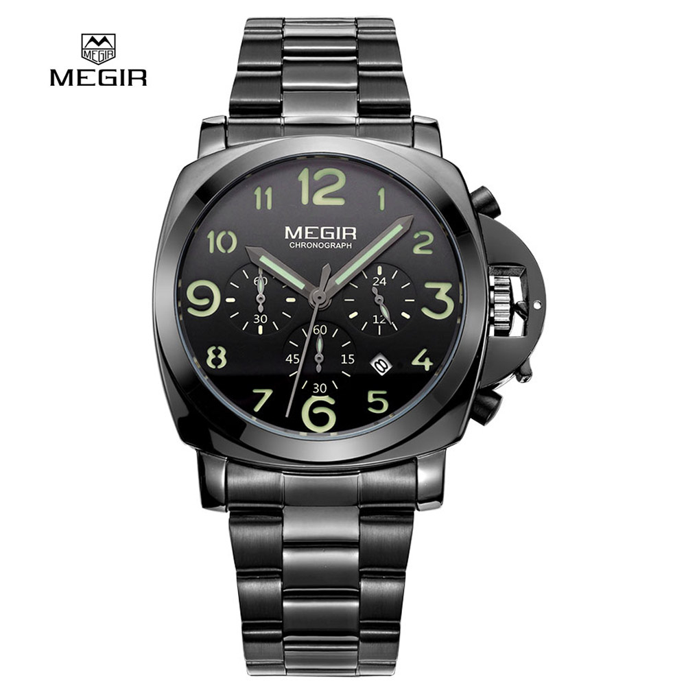 Megir Mens Fashion Quartz Watch Analog Display Wristwatch Stainless Steel Band Waterproof Watches for male 3406<br>